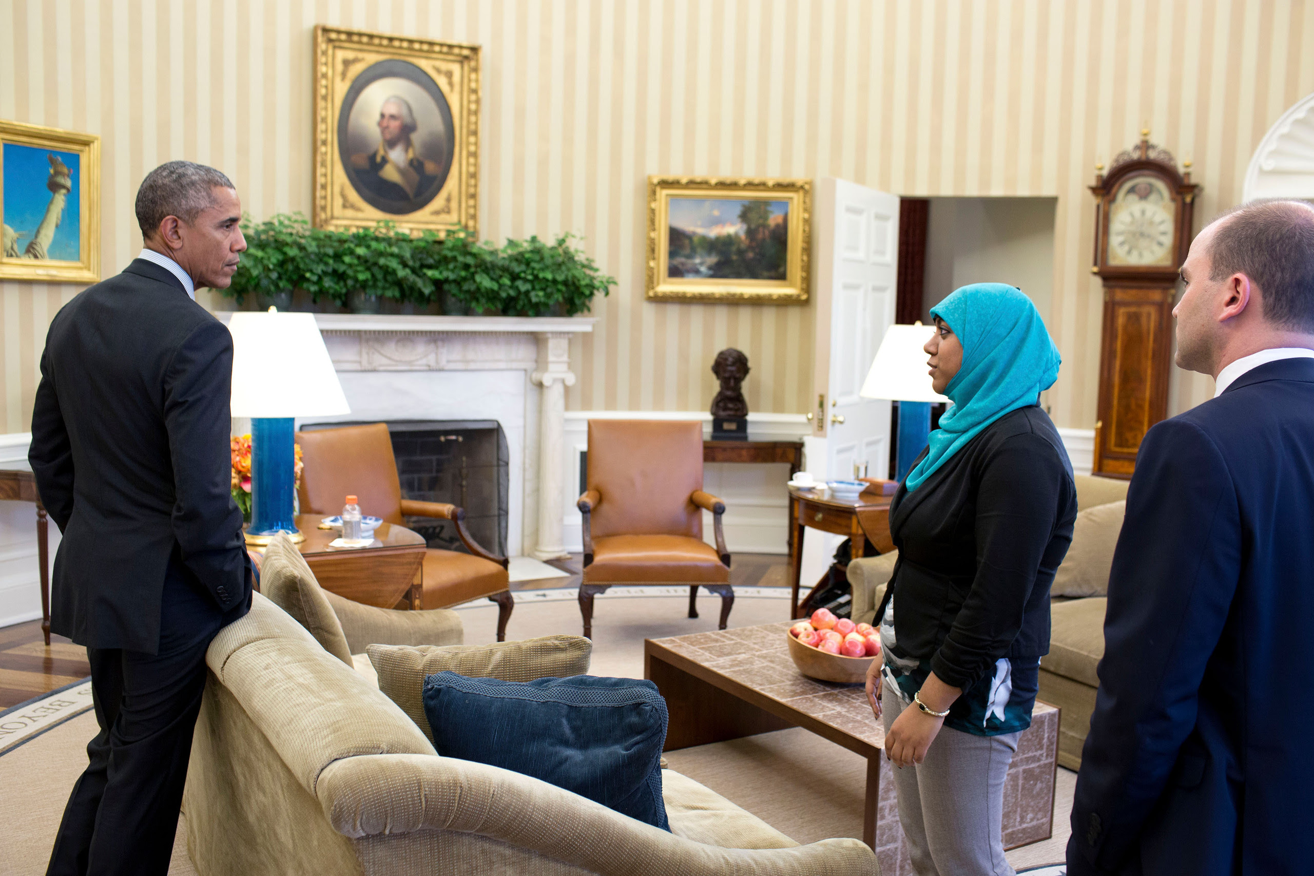 President Barack Obama holds American Muslim leaders meeting prep in the Oval Office, Feb. 4, 2015. Participants are:  Ben Rhodes, Deputy National Security Advisor for Strategic Communications and Rumana Ahmed, Advisor to the Deputy National Security Advisor, NSC. (Official White House Photo by Pete Souza)  This photograph is provided by THE WHITE HOUSE as a courtesy and may be printed by the subject(s) in the photograph for personal use only. The photograph may not be manipulated in any way and may not otherwise be reproduced, disseminated or broadcast, without the written permission of the White House Photo Office. This photograph may not be used in any commercial or political materials, advertisements, emails, products, promotions that in any way suggests approval or endorsement of the President, the First Family, or the White House.Consistent with these restrictions, a commercial printer may produce print(s) of the photograph for the subject(s) personal use.