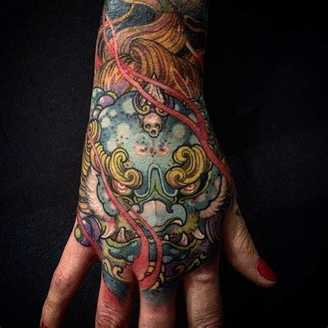 demon mask japanese tattoo hand tattoo ideas gallery