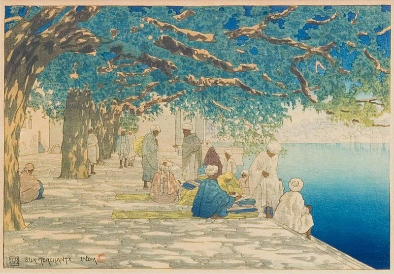 File:'Silk Merchants, India', woodblock print by by Charles W. Bartlett, 1919, Honolulu Academy of Arts.jpg