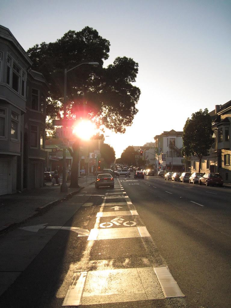sun sets street stripes.