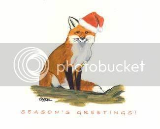 fox in Santa hat