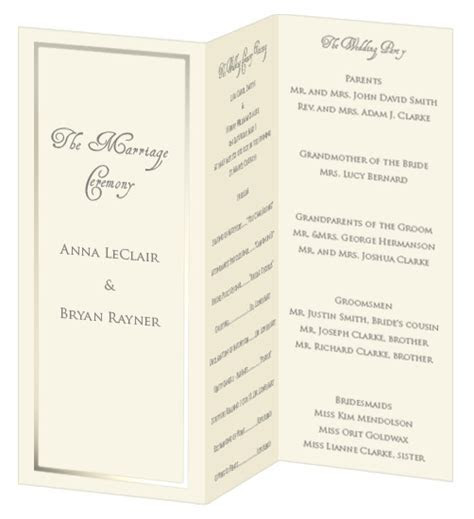 Foil Border Wedding Programs   Print Your Own Foil Border