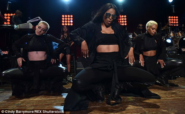 Dip it low: The star wore shades and a black shirt over her ensemble as the anticipated show kicked off