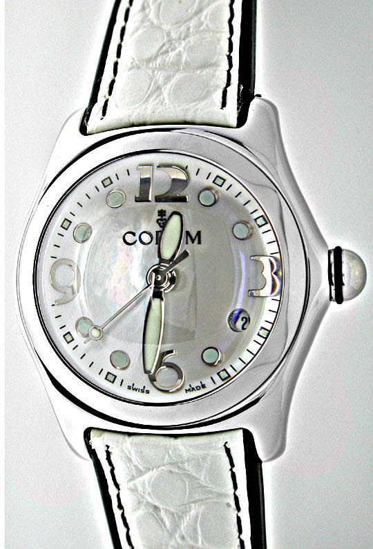 Foto 2, CORUM MEDIUM BUBBLE ST PERLMUTT-ZIFFERBLATT TOPUHR NEU!, U1076