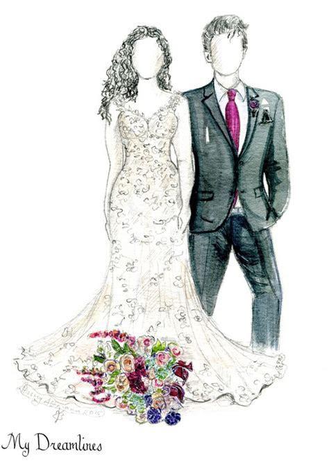 Personal Wedding Dress Sketch   Anniversary Gift   Wedding