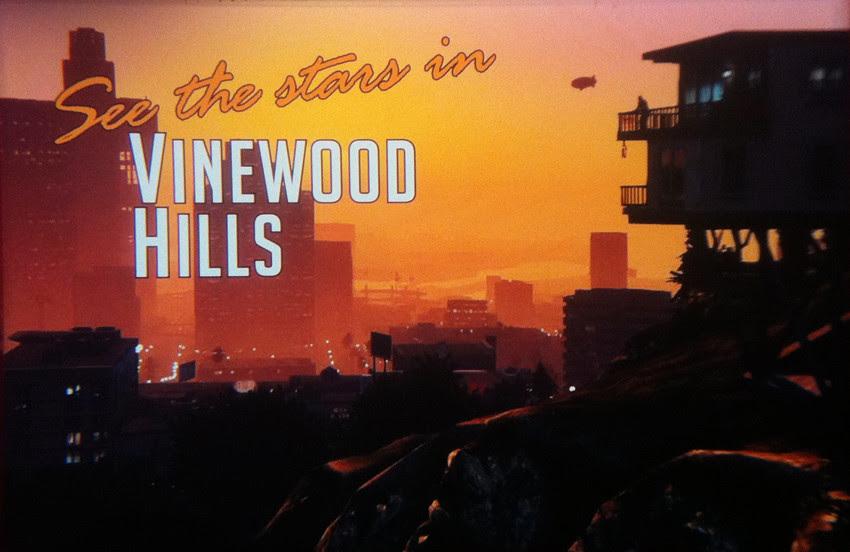 GTA V, cenário Vinewood Hills - imagem retirada do site www.allgamesbeta.com