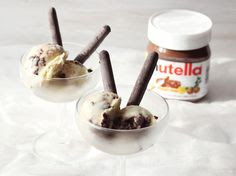 Nutella swirl ice cream www.abeautifulmess.com