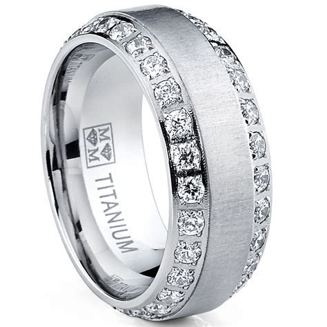 MENS OR WOMENS eternity TITANIUM LCS. DIAMOND WEDDING BAND