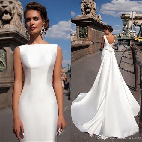 Simple Satin Mermaid Wedding Dresses Bateau Boat Neck