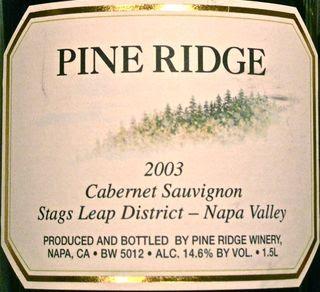 CU - 2003 Pine Ridge Cabernet