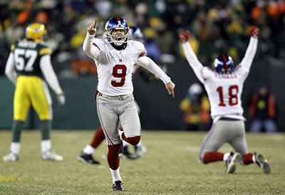 The New York Giants' Lawrence Tyne celebrates after kicking the winning field goal that allowed the Giants to win the National Football Conference championship...and pitting NY against Tom Brady and the New England Patriots in Super Bowl XLII (on February 3 in Glendale, Arizona).