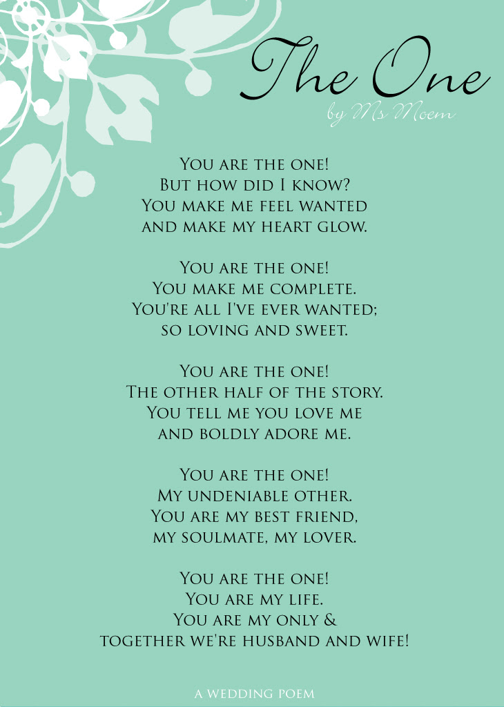 The One A Wedding Poem Ms Moem Poems Life Etc