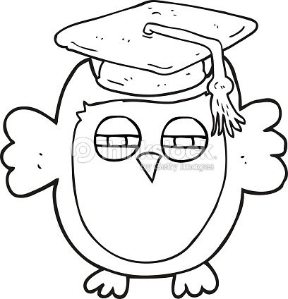 Black And White Cartoon Clever Owl Vector Art Thinkstock