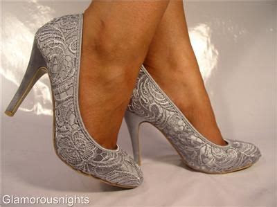 Silver/grey satin, lace covered wedding shoe, stiletto