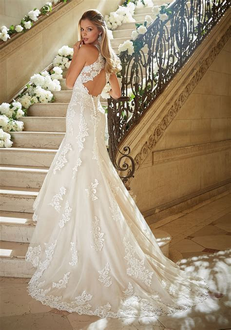 Beading and Embroidery on Soft Net Wedding Dress   Style