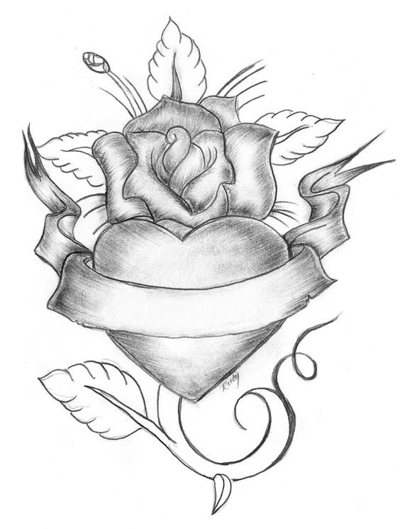 Heart With A Ribbon Drawing At Getdrawingscom Free For Personal