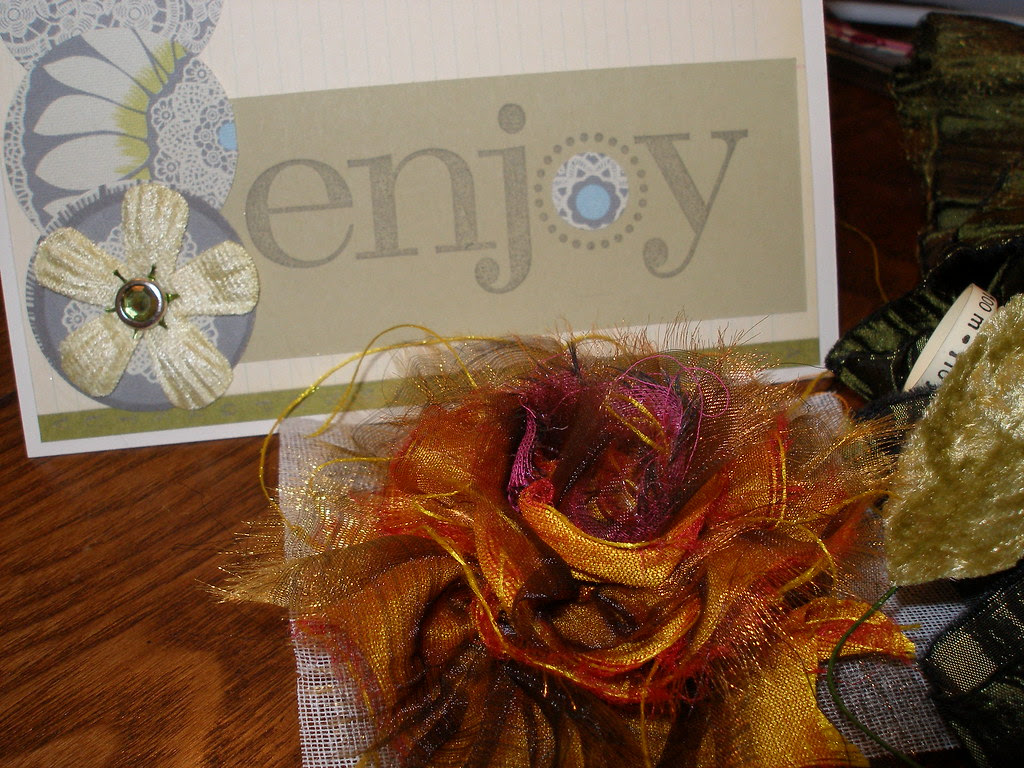 fabric rose and card