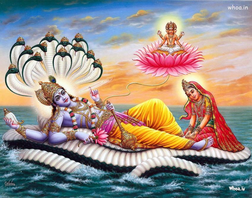 Lord Vishnu And Mata Lakshmi Art Hd Wallpaper
