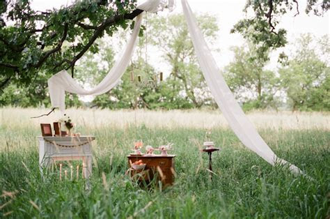 Southern wedding   ceremony in a field
