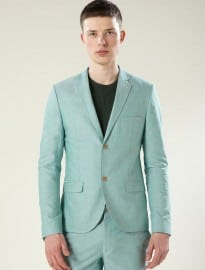 Topman Apple Green Oxford Skinny Suit Jacket
