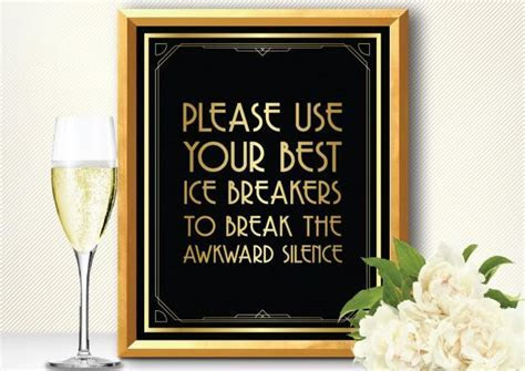 Printable YOUR Best ICE BREAKERS.. Sign   Art Deco Style