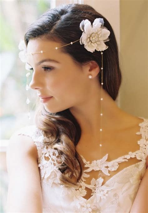 Wedding bridal side curly brown hair style flower pearls