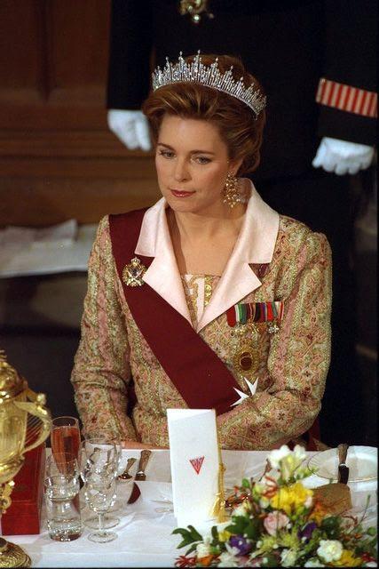 HM Queen Noor of Jordan. After her husband's death in 1999, King Hussein's eldest son became King Abdullah II of Jordan. His wife, Rania, is styled as HM Rania, The Queen of Jordan.