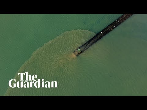 Drone footage shows sewage pumping into sea in Hampshire conservation area