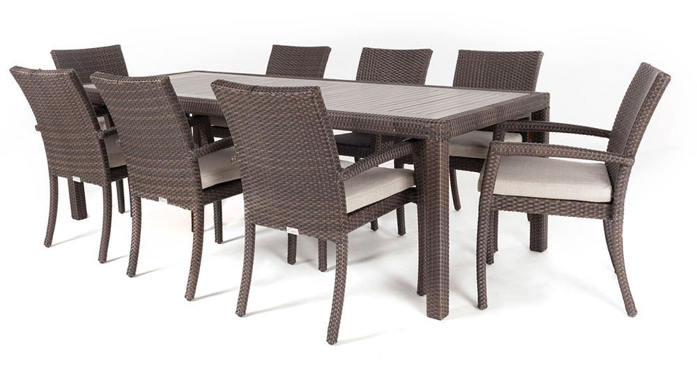 Ciro rectangular synthetic wood top outdoor dining table ...