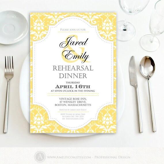 Printable Rehearsal Dinner Invitation Engagement Gold DIY Template ...