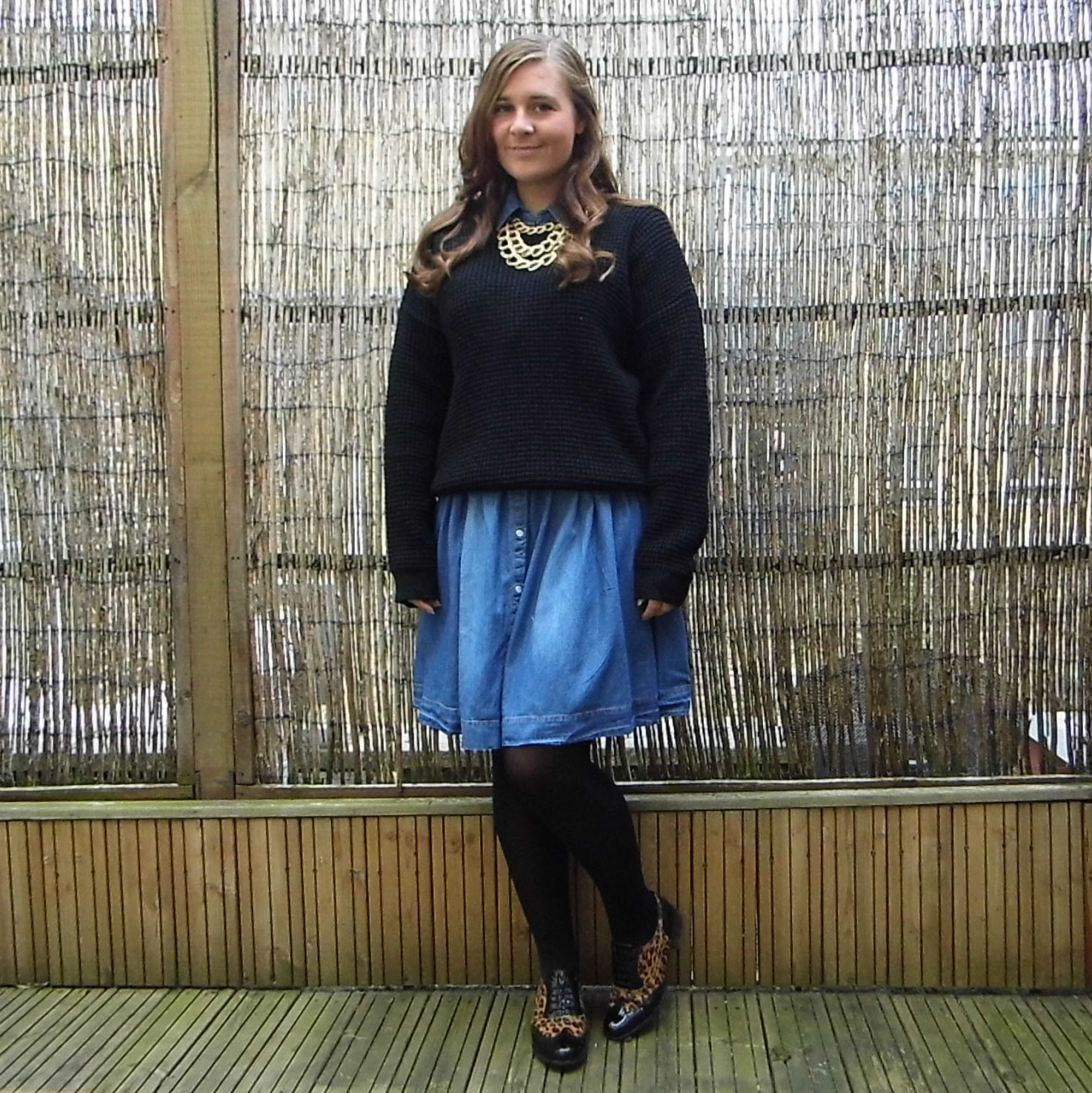 Clarkes Hamble Oak Brogue Shoes & Denim Shirt Dress & Slouchy Jumper 3