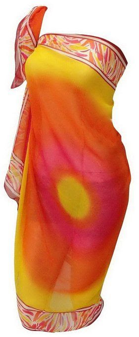 La Leela Sheer Chiffon Sarong Beach Swim Cover up Yellow Orange