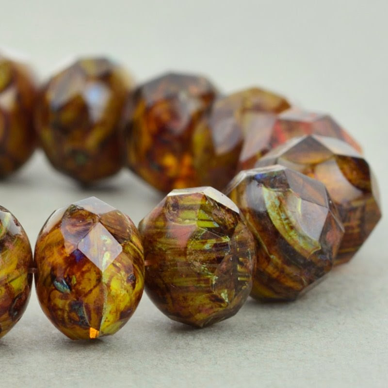 s49077 Czech Glass - 9 x 6 mm Faceted Donut Rondelle - Gaspeite Picasso (25)