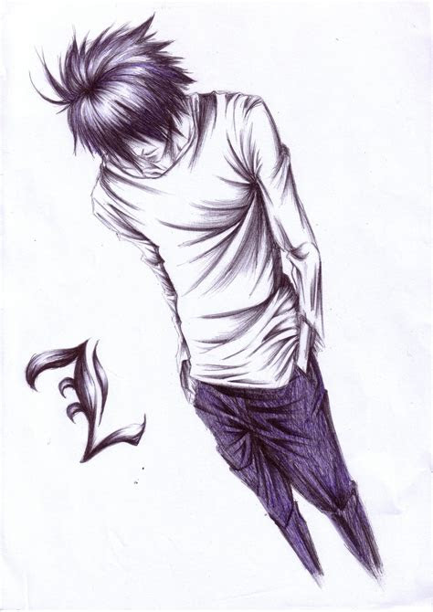 tags death note  lawliet sketch artist request