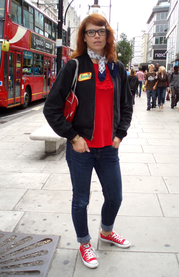 American jacket, red converse and jeans