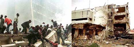 Bombings of the Nairobi, Kenya, US embassy (left), and the Dar es Salaam, Tanzania, US embassy (right).