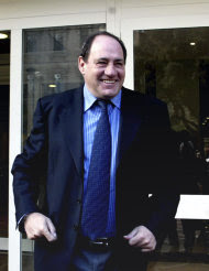 FILE - In this March 13, 2006, file photo, former Lazio player Giorgio Chinaglia stands outside the Italian Market Regulator office in Rome, Italy. Former Italy and Cosmos star Chinaglia died in his home in Florida, Sunday, April 1, 2012, his son Anthony Chinaglia said. (AP Photo/Giuseppe Calzuola, File)