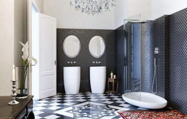 Glass Idromassagio Art Deco inspired italian bathroom