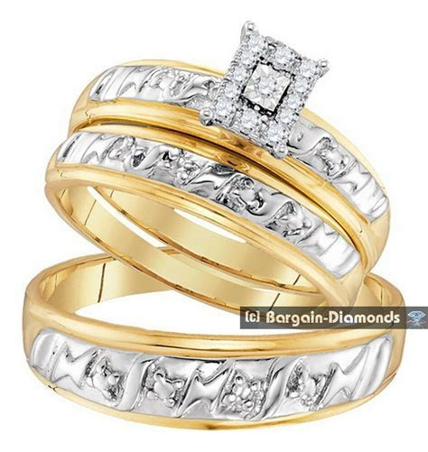 diamond .11 carat 3 ring bridal 10K gold engagement