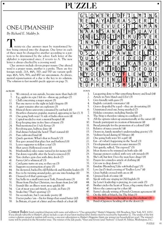 September 2014 | Harper's Cryptic puzzle solution