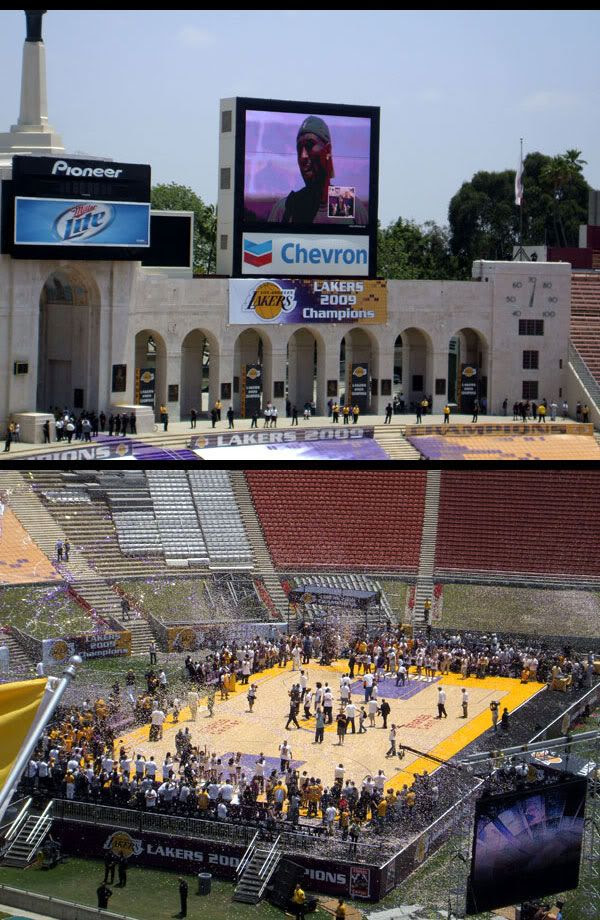 TOP PIC: Kobe Bryant addresses the crowd.  BOTTOM PIC: Streamers and confetti mark the end of the victory rally, and the Lakers' championship season.