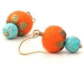 Orange Turquoise Wire Drop Earrings -Gemstone Dangle Fiber Felt Metal Leaves - galleryzooartdesigns