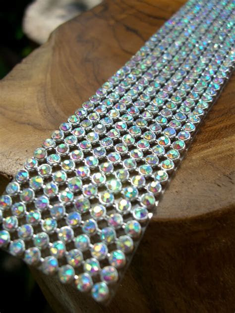 Iridescent Diamond Ribbon Trim with Glass Stones Silver
