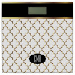 Monogram White & Gold Quatrefoil Pattern Bathroom Scale