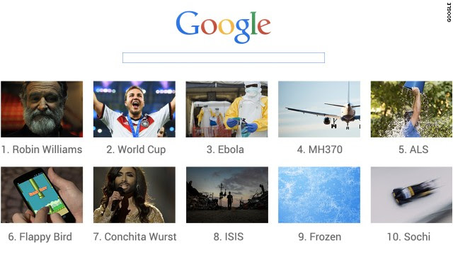 In 2014, the top trending Google searches around the world included Robin Williams, the World Cup and Ebola.