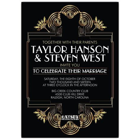 Great Gatsby Glitzy Wedding Invitations   PaperStyle