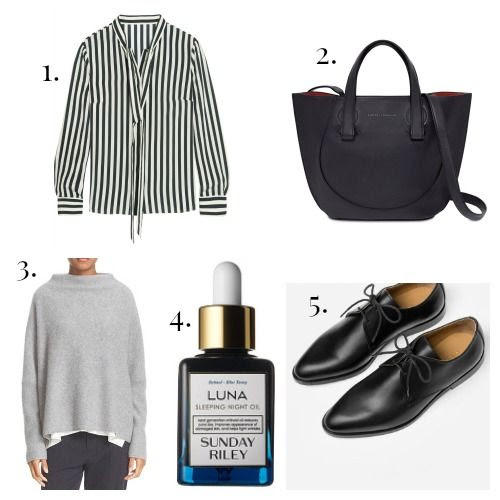 Iris and Ink Blouse - Victoria Beckham Handbag - Vince Sweater - Sunday Riley Face Oil - Everlane Oxfords