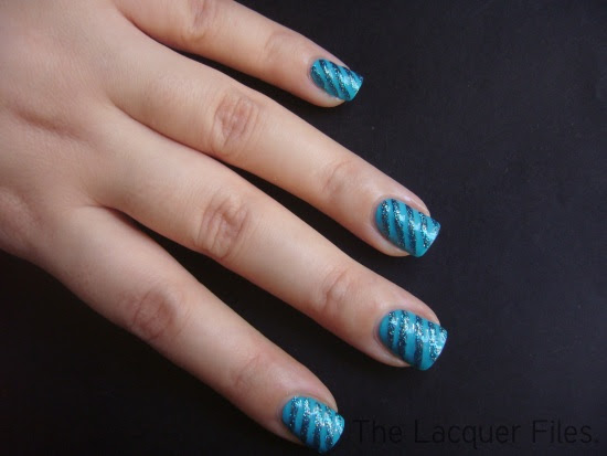 Blue Stripes Nail Art Design