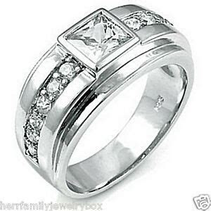 14k White Gold over .925 Sterling Silver Square cut Men's