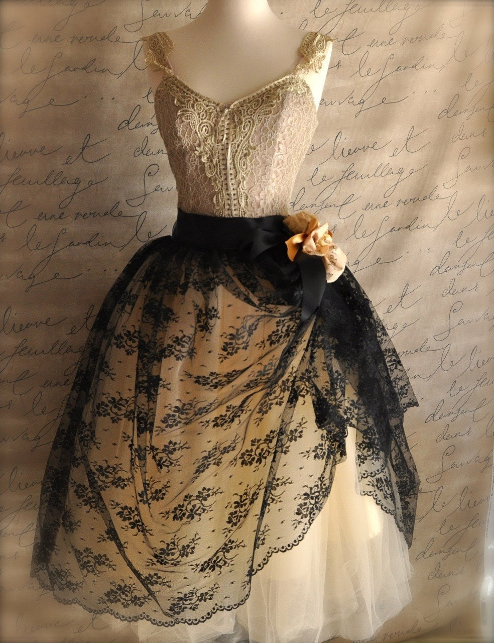 Mlle. Chantilly Lace. French black chantilly lace over lined tutu skirt.